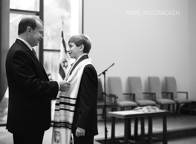 Father and son preparing for Bar Mitzvah
