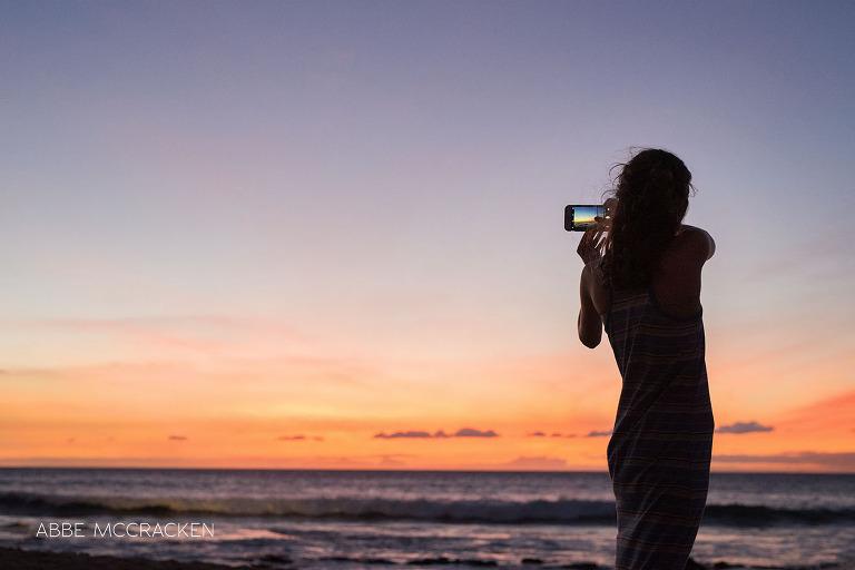 vacation photos - Charlotte photographer Abbe McCracken's daughter enjoying a Big Island, HI sunset