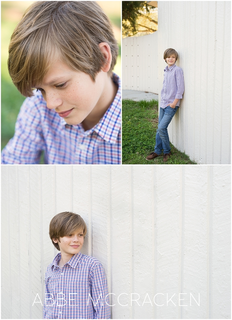 Portraits of a twelve-year-old boy, varied poses