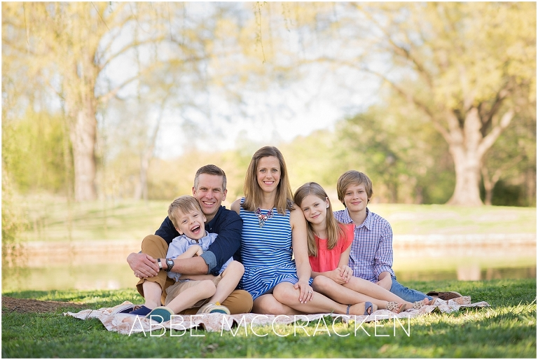 Family portrait photographed in Charlotte's Freedom Park - April 2017