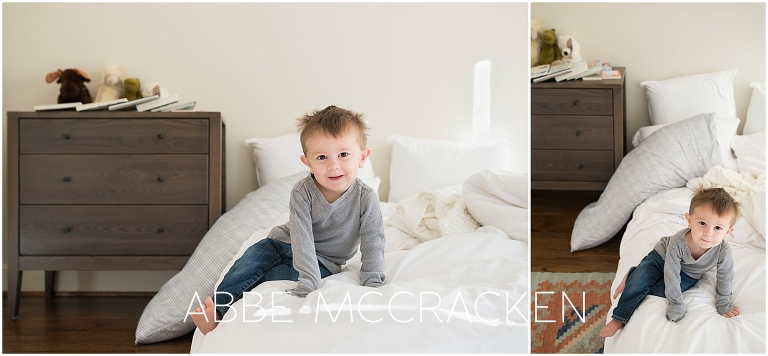 Images of big brother taken during an in-home newborn lifestyle photography session