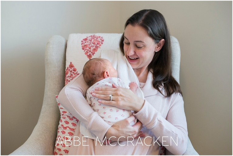 Newborn baby girl at home with mom | Newborn photography Charlotte NC
