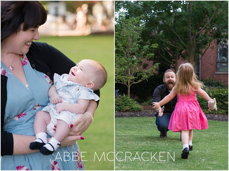 Candid, lifestyle family portraits in Uptown Charlotte
