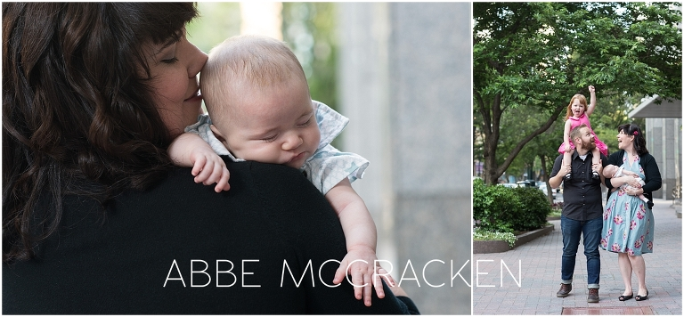 Candid images from a lifestyle family photography session in Uptown Charlotte
