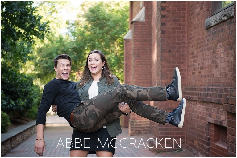 Photo of siblings during an Urban Senior Portrait Session in Uptown Charlotte