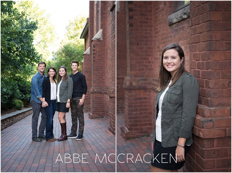 Family photos during an Urban Senior Portrait Session in Uptown Charlotte