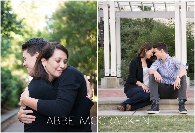 Candid portraits of a mother and her high school senior son, photographed in Uptown Charlotte NC