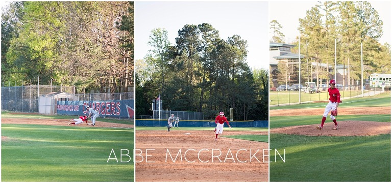 Action shots of Bryce Daniel during high school baseball game