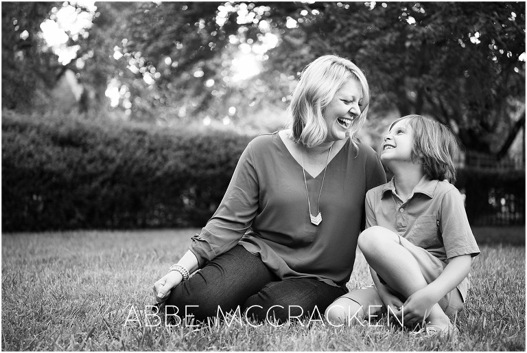 Mother and son caught during a candid moment of laughter