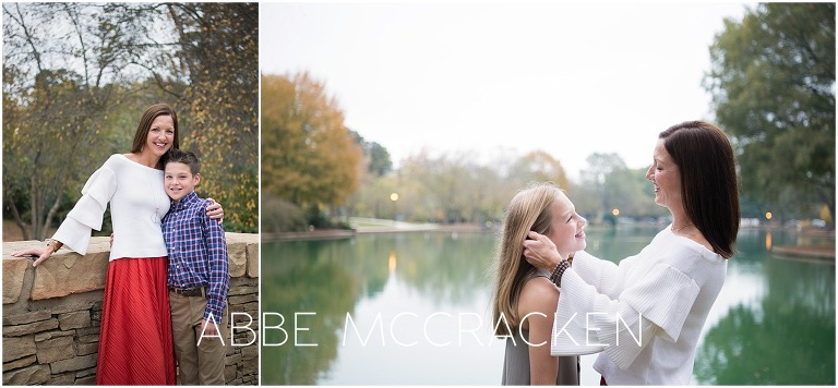 Mother and child images in Charlotte's Freedom Park, captured during a fall family photo session