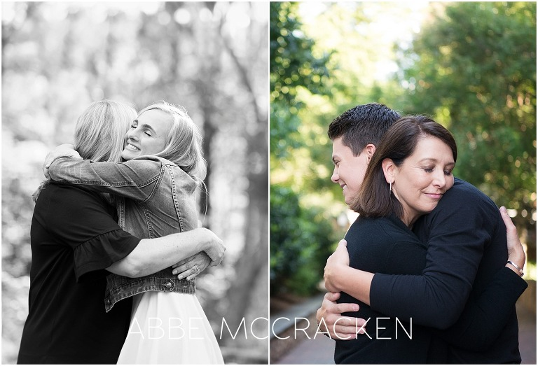 Mothers hugging their high school seniors during senior portrait sessions
