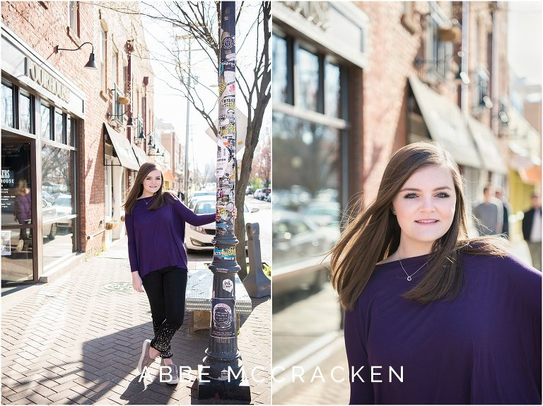 Spring senior portraits on the streets of NoDa in Charlotte, NC