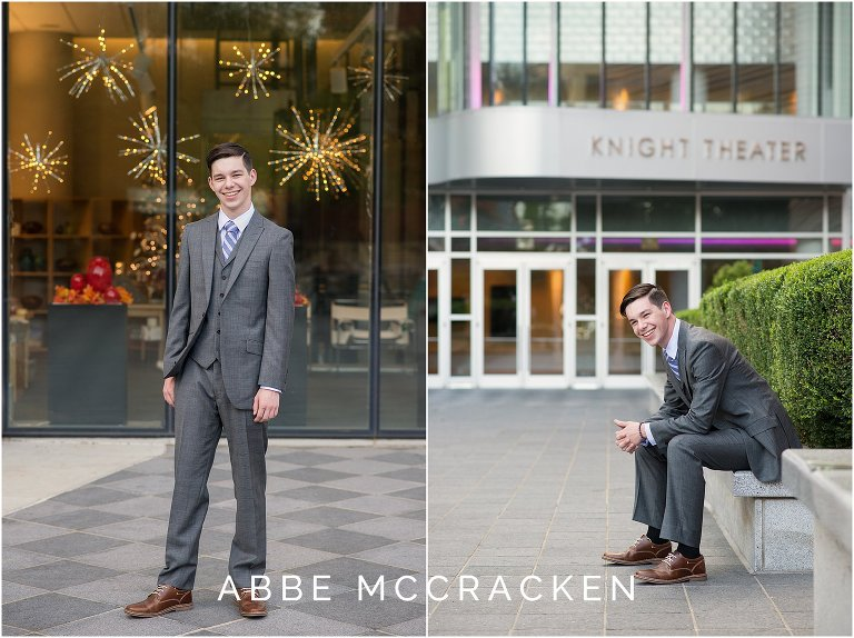 Uptown Charlotte senior portraits for guys near Knight Theater and Mint Museum
