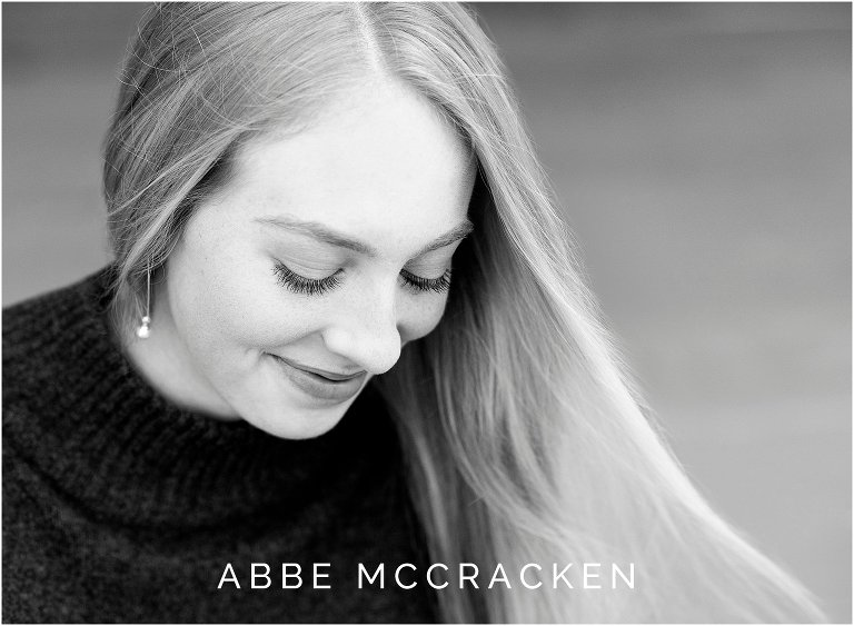 Close up black and white picture of a high school senior, senior portraits