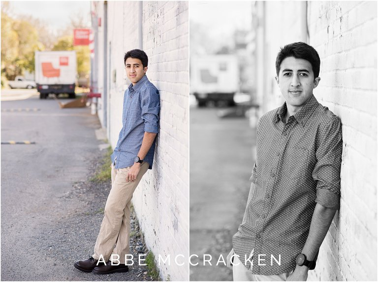 High school senior pictures in downtown Davidson, NC
