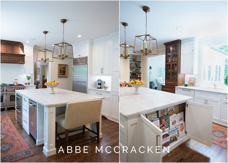 Multiple views of a clean, white kitchen island with marble top and hidden cookbook storage. Interior design by Charlotte, NC based The Warrick Company.
