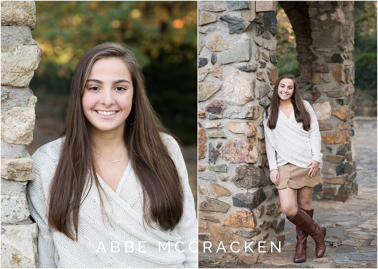 Casual senior portraits against the stonework in Charlotte's Independence Park