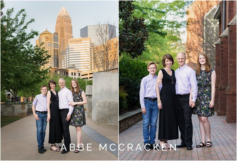 Spring family portraits in Uptown Charlotte at The Green and at Romare Bearden Park