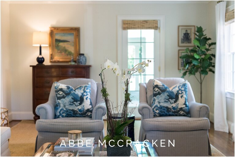 Blue and white design details in a traditional Eastover remodel