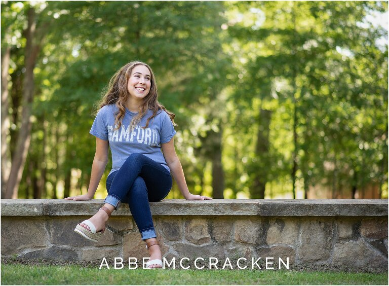 Charlotte Christian senior photographed in her Samford University t-shirt