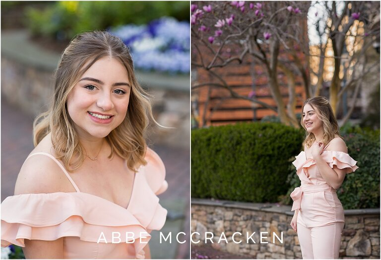 Photos taken during a teen girl's senior portrait session in Uptown Charlotte